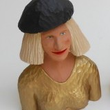 # 421 , Blond Bob and gold top and black hat , 10 inches ,  SOLD